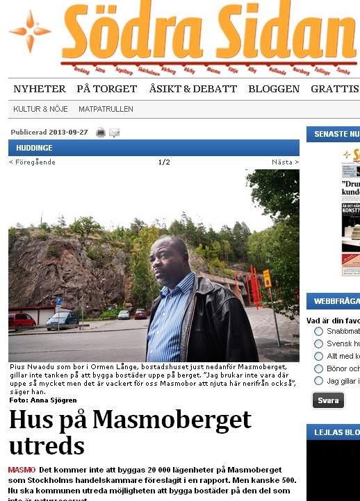Artikel 27 sep 2013 i Södra sidan, om Masmokilen