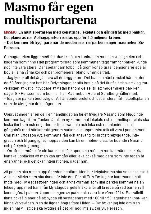 Södra sidan om multisportarenan i Masmo, intervju med Christian Ottosson