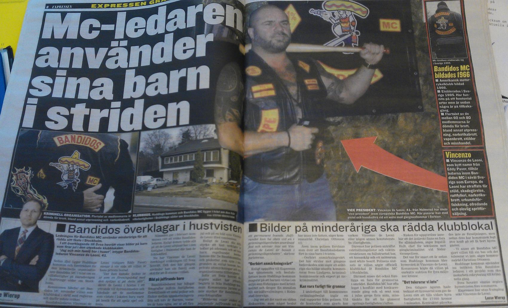130415 Expressen om Bandidosvillan i Huddinge, med Christian Ottosson