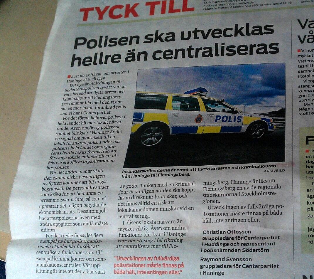 Mitt Huddinge om lokal polis i Haninge med Christian Ottosson och Raymond Svensson, Centerpartiet