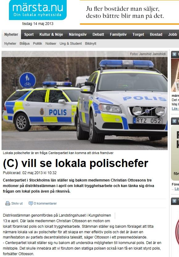 Märsta.nu om Centerpartiets förslag på lokal polis, med Christian Ottosson
