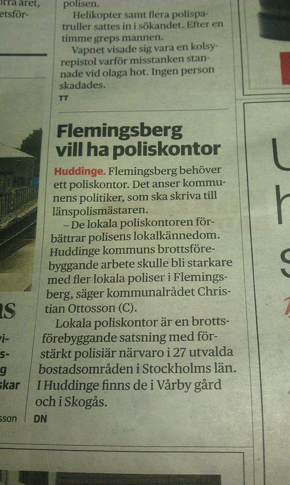 DN om lokalt poliskontor i Flemingsberg
